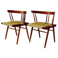 Pair George Nakashima Grass Chairs 1