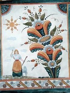 Säterjäntan Swedish Dala Painting with the Kurbits plant. Swedish Decor, Scandinavian Folk Art, Fashion Painting, True Art, Tole Painting, Pictures To Paint, Pattern Art, Painting Techniques, Artsy