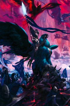 An Elven Commander mounting a Griffon in battle