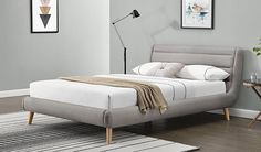 Groupon Goods Global GmbH: Highclere Fabric Bed with Optional Spring Mattress With Free Delivery Sofa Bed Ireland, Bedroom Bed, Bedroom Decor, Dark Gray Bedroom, Velvet Bed, Mattress Springs, Bed Storage, Bed Frame, Home Furniture