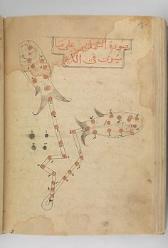 Kitab suwar al-kawakib al-thabita (Book of the Images of the Fixed Stars) of al-Sufi Author: `Abd al-Rahman al-Sufi  (903–86) Object Name: Illustrated manuscript Date: late 15th century Geography: Iran Culture: Islamic Medium: Ink and gold on paper; leather binding Dimensions: H. 10 3/16 in. (25.8 cm) W. 7 1/8 in. (18.1 cm)