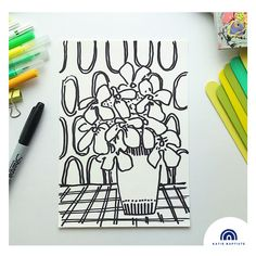 First day of 100 day project. Black sharpie pen on white cartridge paper. Begonia inspired plant in vase on checked table cloth with retro oval wallpaper. More is more! More details and video @katiebaptistedesign Sharpie Pens, Black Sharpie, Begonia, 100th Day, Plant, Vase, Inspired, Retro, Wallpaper