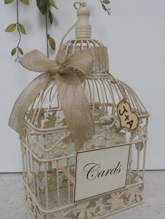 Wedding Birdcage Card Holder / Burlap ribbon / Burned by ThoseDays, $45.00