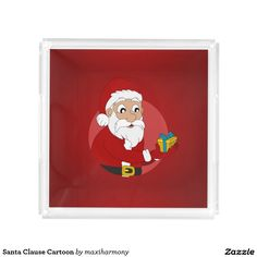 Santa Clause Cartoon Square Serving Trays