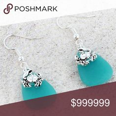 """♥️ 🆕 Blue Sea Glass And Crab Fish Hook Earrings Get A Beach Vibe With These Magnificent Sea Glass And Crab Earrings!  • Silvertone • Blue Sea Glass Stone With Crab Charm • 1.75"""" Fish Hook Earrings With 1"""" Drop  • Hypoallergenic Posts • Lead & Nickel Safe Boutique Jewelry Earrings"""