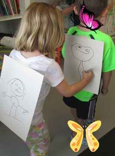 Back-2-Back Game // Drawing Game for Kids - Kids Art Classes, Camps, Parties and Events - Small Hands Big Art You have to see this fun drawing game for kids we played at our art summer camp in our children's art studio in Charlotte, NC.<br> You have to see this fun drawing game for kids we played at our art summer camp in our children's art studio in Charlotte, NC. Kids Art Class, Art For Kids, Drawing Games For Kids, Easy Sewing Patterns, Kids Hands, Christmas Gift Tags, Charlotte Nc, Camps, Cool Drawings