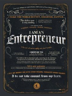 The Entrepreneur Manifesto poster from Life Manifestos is for passionate, mission-driven entrepreneurs. Entrepreneur Manifesto x poster. Business Motivation, Business Quotes, Business Tips, Business Marketing, Creative Business, Internet Marketing, Entrepreneur Inspiration, Entrepreneur Quotes, Career Inspiration