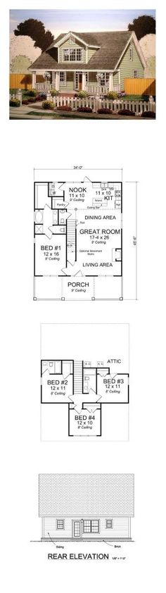 Country House Plan 61403 | Total Living Area: 1871 sq. ft., 4 bedrooms and 3.5 bathrooms. #countryhome by Laura L