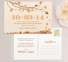Fall Leaves Personalized Wedding Save the Date Postcard / Magnet / Flat Card - CUSTOMIZE Colors and Content