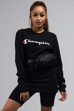 The Champion Heritage Unisex Long Sleeve Script Logo Tee is a cozy day, athleisure inspired essential. It's classic crew neck, long sleeve design assure comfort and an extended length hem make it perfect for wearing over biker shorts, mini skirts and othe Champion Sweatshirt, Crew Neck Sweatshirt, Lace Biker Shorts, Shirt Sleeves, Long Sleeve Shirts, My Champion, Fine Boys, Adidas Shirt, Sleeve Designs