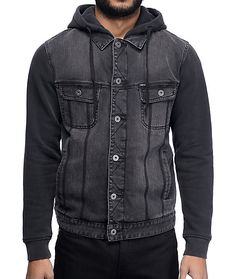 For a tonal vibe the Union Trucker black and charcoal gives a monochrome style for any outfit. This denim body and fleece hood and sleeves give a layered look, finished with the customizable fit of a button adjustable bottom hem that you can button in for