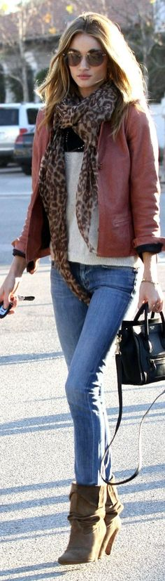leather jacket jeans long boots and leopard scarf