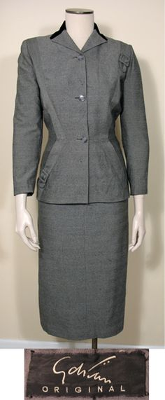 Vintage 1940s Black and White Wool Tailored 2 Pc. Suit by Adrian SZ S