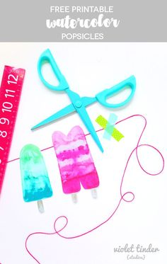 These free printable watercolor popsicles make the most beautiful garland!