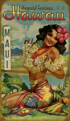 Vintage PosterYou can find Vintage hawaii and more on our website. Old Poster, Retro Poster, Hawaiian Art, Vintage Hawaiian, Hawaiian Phrases, Aloha Vintage, Vintage Tiki, Vintage Ads, Vintage Prints