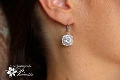 Boucles d'oreilles carrées zircon et strass. Bridal cz square pavé earrings.