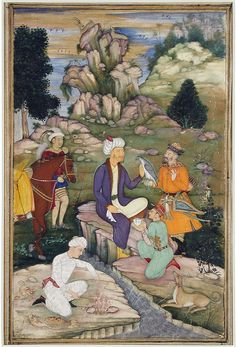 Picnicking in the course of a hunt. Series: Abdullah Khan Uzbeg Picnicking at a Hunting Expedition, Opaque watercolor on paper, Mughal, ca. The San Diego Museum of Art Mughal Miniature Paintings, Medieval Paintings, Mughal Empire, Indian Paintings, Sacred Art, Close Image, Horseback Riding, Indian Art, Art Museum