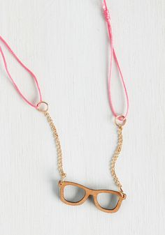 Check Yourself Before You Spec Yourself Necklace. Prior to debuting this pendant necklace, ask yourself - are you ready to have your world of accessorizing turned upside-down?  #modcloth