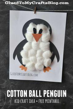 White Cotton Ball Penguin - Kid Craft Tutorial w/Free Printable