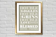 Custom Double the Grins With Twins Nursery Art Print | Gift | Baby Shower | Home Decor | Twins