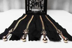 Metal Zippers- 4.5 inch12 cm closed bottom ykk nickel teeth zips- (4) pieces - Black  Zippers