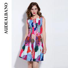 Audealbano elegant round collar color wave point sleeveless dress colorblock…