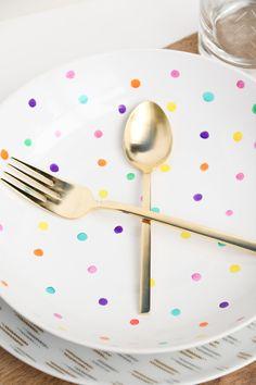 DIY Polka Dot Plates using food safe Ceramic Paint Pens