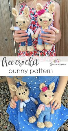 Quick and easy free crochet bunny pattern! Make your own sweet little bunny with step by step instructions, photos and video tutorials! Crochet Bunny Pattern, Crochet Amigurumi Free Patterns, Crochet Animal Patterns, Cute Crochet, Crochet Animals, Crochet Dolls, Stuffed Toys Patterns, Amigurumi Doll, Crochet Projects
