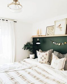 We love this idea for a bedroom accent wall ( submitted by Link in bio for more home decor. Bedroom Green, Room Ideas Bedroom, Home Decor Bedroom, Bedroom Interiors, Diy Bedroom, Tiny Master Bedroom, Grown Up Bedroom, Accent Wall Bedroom, Bedroom Wall Shelves