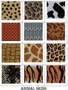 Ravelry: Animal Skin charts pattern by Melanie Nordberg Filet Crochet Charts, Crochet Cross, Knitting Charts, Crochet Motif, Knitting Stitches, Knitting Patterns, Crochet Patterns, Loom Patterns, Beading Patterns