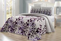 "3-Piece Fine printed Oversize (115"" X 95"") Fresca Quilt Set Reversible Bedspread Coverlet KING / CAL KING SIZE Bed Cover (Purple, Grey, Vine)"