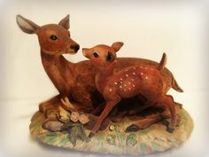 A personal favorite from my Etsy shop https://www.etsy.com/listing/278190780/doe-fawn-white-tail-deer-figurine-baby