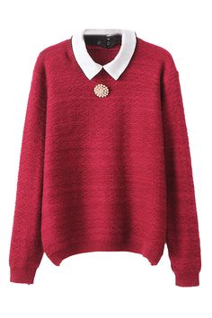 ROMWE | Detachable Collar Red Jumper, The Latest Street Fashion