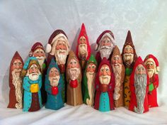 Hand carved and painted wooden Santas by Elizabeth Brown, Liverpool, NS.