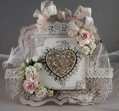 Stempelglede :: Grunge flourish hearts. Bryllupskort - Audhild Ljones.