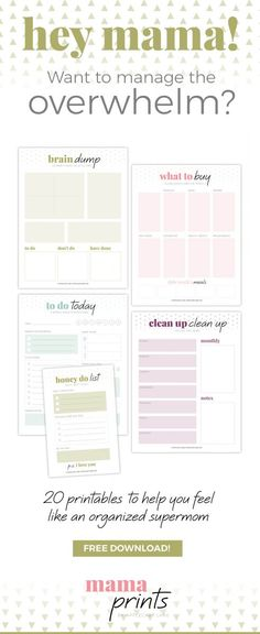 Free download! Start accomplishing more and stressing less with the Mama Prints Mini Bundle! 20 printable to help you dominate motherhood and feel like supermom! to do list, fitness tracker, meal planning, grocery list, clean up list, success chart for kids, morning routine printable, bedtime routine printable. get organized printables!
