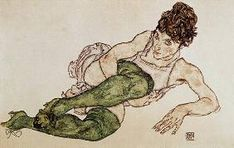 Egon Schiele - Reclining woman, green tights