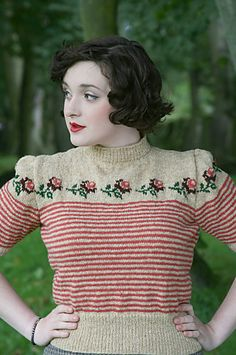 """""""trimmed with roses"""" Twinset Cardigan by Susan Crawford. Published in A Stitch in Time: Vintage Knitting Patterns, 1930-1959 vol. 2"""