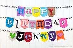 Check out this cute birthday banner from Piggy Bank Parties!