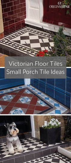 Victorian Floor Tiles – Small Porch Tile Ideas – Victorian Floor Tiles can ad… Small Porches, Outside Flooring, Porch Steps, Victorian Front Doors, Victorian Porch, Concrete Front Porch, Porch Flooring, Porch Tile, Tile Steps