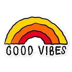 Good vibes rainbow bubble-free sticker - 5.5x5.5