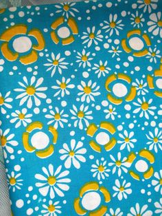 1970 s French Blue Flower Fabric