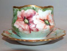 8122: Antique Signed Limoges France Poppy Mayonnaise Mayo Bowl
