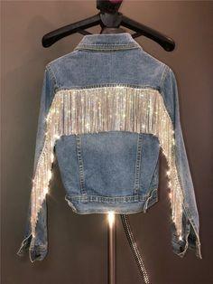 Luxurious Rhinestone Tassel trim Rhinestone Chain night out fringe Swarovski shine silver Crystal ornament diamante jeans dress trim Diy Jeans, Diy Clothing, Custom Clothes, Denim Fashion, Fashion Outfits, Womens Fashion, Latest Fashion, Mode Vintage, Jeans Dress