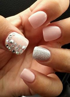Nude and silver nail art design. Play along with silver beads and silver dust in addition to your beautifully colored nude nail polish.