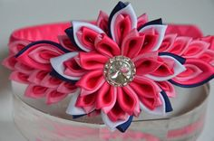 Pink girl headband girl headband Kanzashi by MagaroCreations