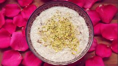 DIY: ROSEWATER + CARDAMOM CHIA SEED PUDDING RECIPE! / ENJOY!!!  ** Ingredients needed: -7- 8 TBS of chia seeds -2 cups of coconut milk -raw honey (to taste) -2-3 TBS of edible rosewater -ground Cardamom and Vanilla -organic sultana raisins -pistachios