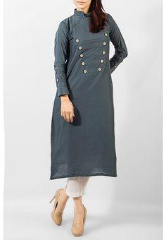 Online Pakistani Dresses in UK & USA Grey Ladies Cotton Kurti by PakRobe.com Shalwar Kameez, Kurti, Kurta Patterns, Casual Dressing, Dress Up, Shirt Dress, Lady Grey, Linen Dresses, Woman Clothing