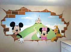 This Mickey mural was painted in a little girls room in just two days. It features the Disney castle, Mickey, Minnie and Pluto, waving through a hole in the wall.