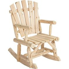 Lend a lodge-inspired look to your porch or patio with the HGC Outdoor Log Adirondack Rocking Chair . This log rocking chair boasts a classic Adirondack. Adirondack Rocking Chair, Rocking Chair Plans, Outdoor Rocking Chairs, Adirondack Chairs, Outdoor Benches, Rustic Outdoor, Rustic Decor, Teak Outdoor Furniture, Log Furniture